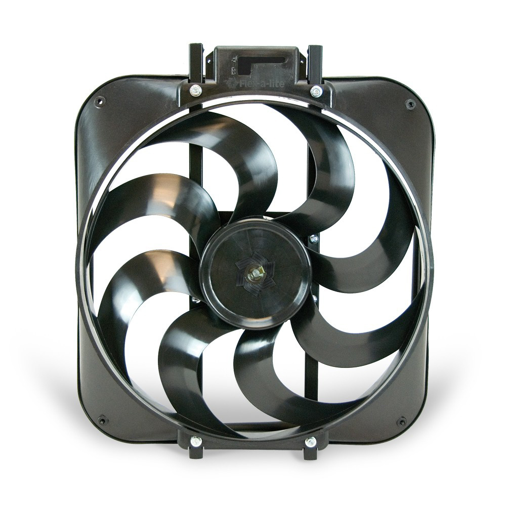 Flex-A-Lite 104310 Electric Cooling Fan, Black Magic S-Blade, 15 in Fan, Push / Pull, 3000 CFM, 12V, Curved Blade, 16 x 18 in, 4-1/4 in Thick, Plastic, Each