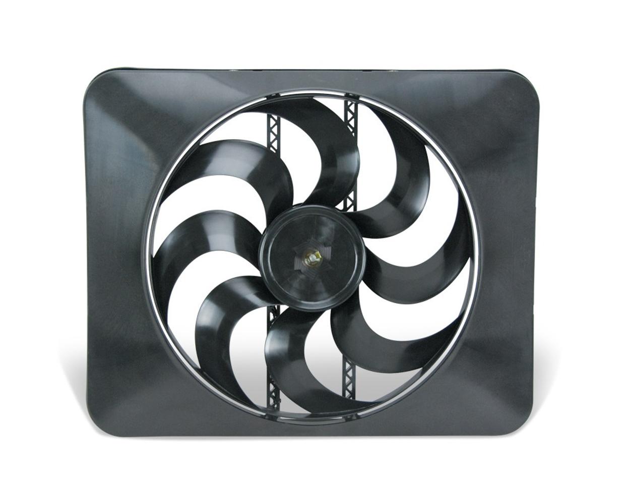 Flex-A-Lite 104349 Electric Cooling Fan, Direct Fit Black Magic Xtreme, 15 in Fan, Puller, 3300 CFM, 12V, Curved Blade, Plastic -Dodge Fullsize Truck 2003-09, Kit