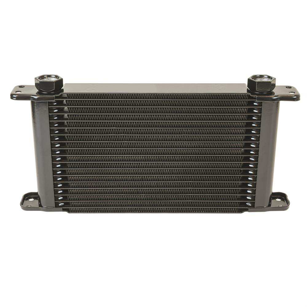 Flex-A-Lite 104432 Fluid Cooler, 11 x 5-3/4 x 1-3/4 in, Plate Type, 17 Row, 10 AN Female O-Ring Inlet / Outlet, 10 AN Male Adapter, Fittings Included, Aluminum, Black Paint, Engine Oil, Each
