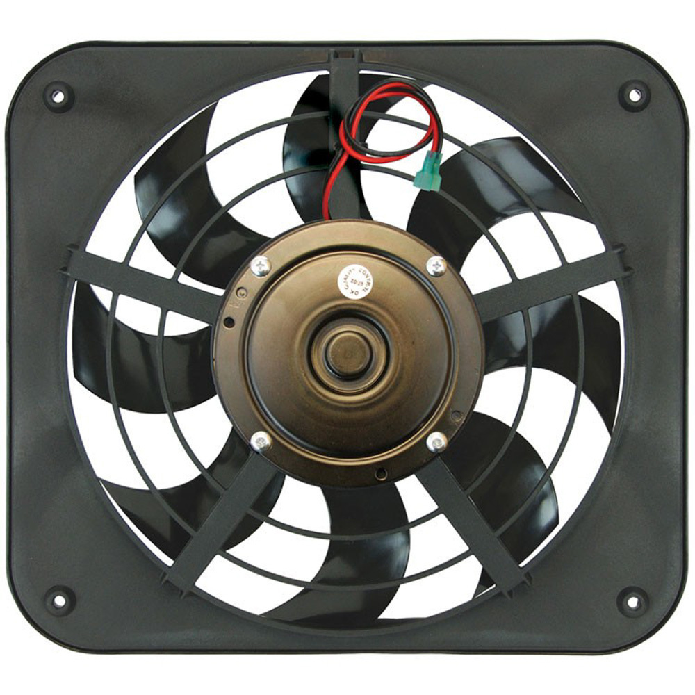 Flex-A-Lite 104726 Electric Cooling Fan, Lo-Profile S-Blade, Dual 12-1/8 in Fan, Pusher, 1250 CFM, 12V, Curved Blade, 15 x 13-1/2 in, 2-5/8 in, Controller, Plastic, Each