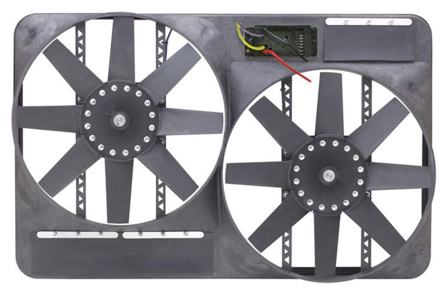 Flex-A-Lite 105398 Electric Cooling Fan, Direct-Fit, Dual 13-1/2 in Fan, Puller, 4600 CFM, 12V, Straight Blade, Controller, Plastic, GM Fullsize SUV / Truck 2000-04, Kit