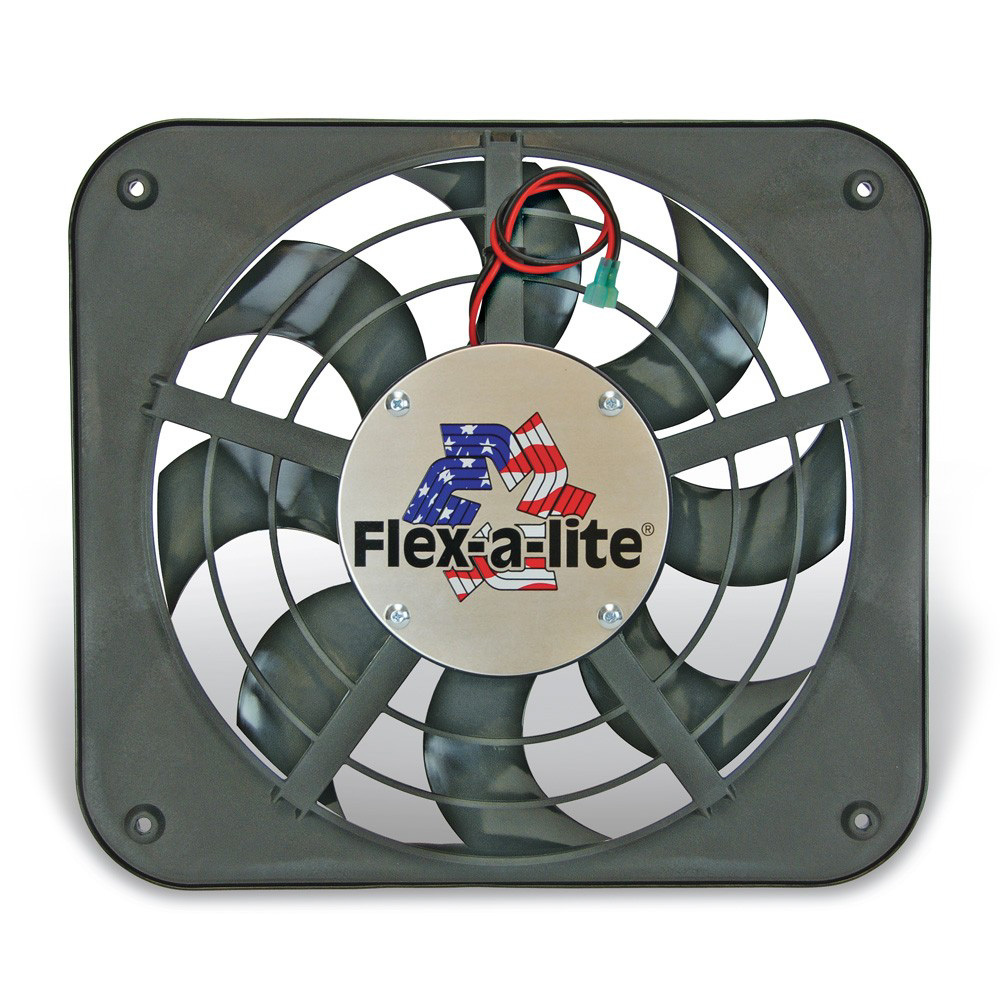 Flex-A-Lite 105400 Electric Cooling Fan, Lo-Profile S-Blade, 12 in Fan, Puller, 1250 CFM, 12V, Curved Blade, 15 x 13-1/2 in, 2-5/8 in Thick, Controller, Plastic, Kit