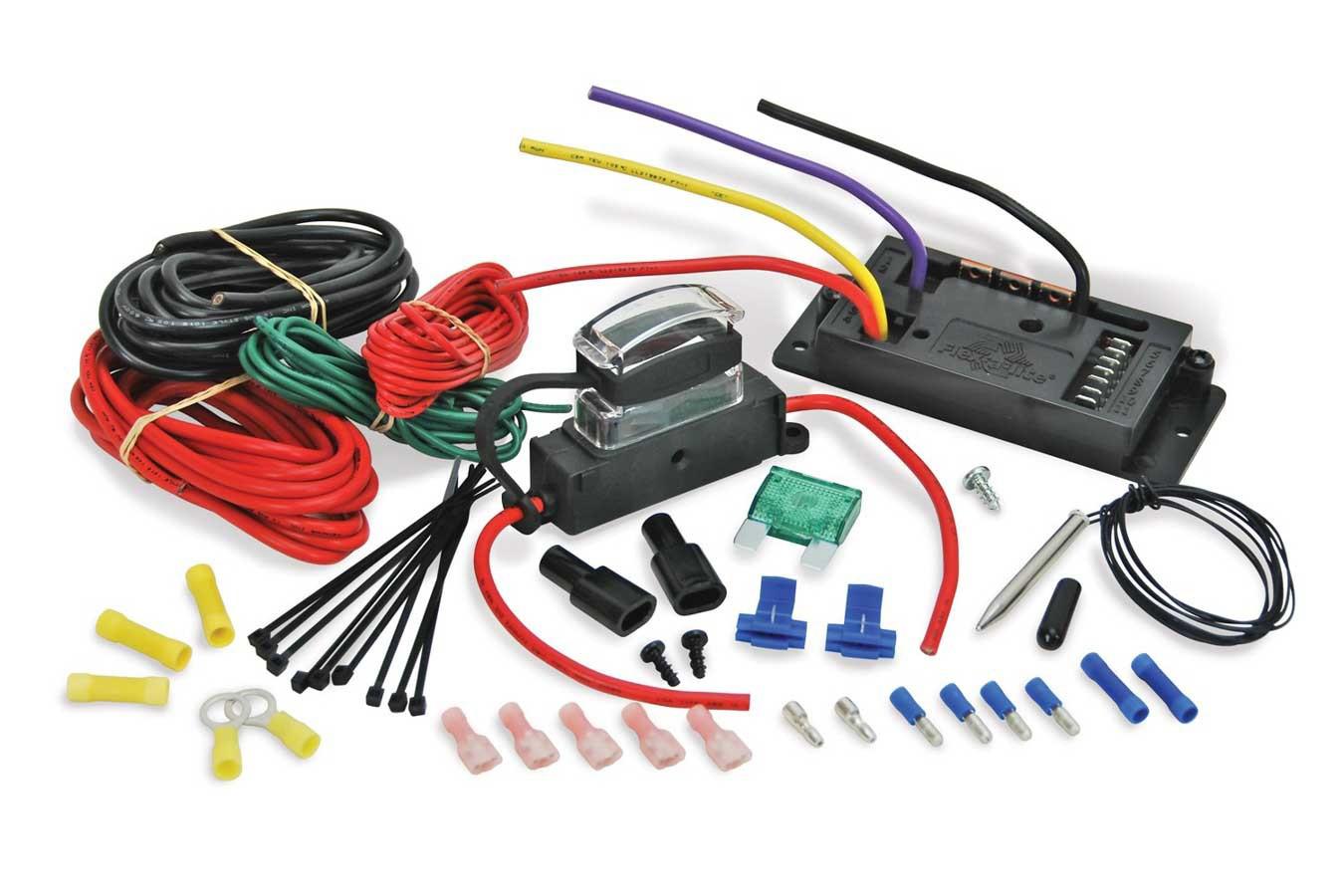 Flex-A-Lite 106999 Fan Controller, Quick Start, Adjustable, 160-220 Degree F Activation Range, Push-In Temperature Sensor, Harness, Kit