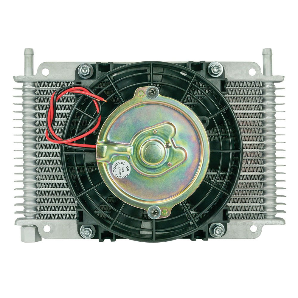 Flex-A-Lite 113803 Fluid Cooler and Fan, 11 x 6 x 3/4 in, Plate and Fin Type, 3/8 in Hose Barb Inlet / Outlet, Aluminum, Natural, Transmission Fluid, Each
