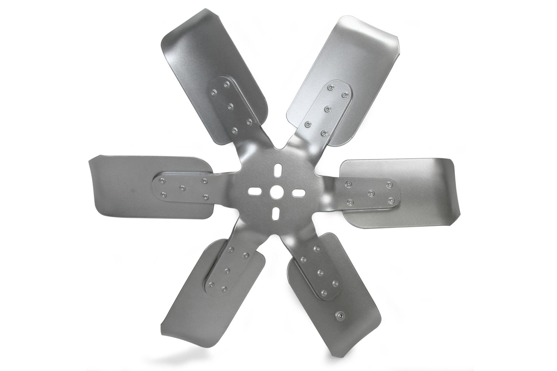 Flex-A-Lite 1218B Mechanical Cooling Fan, Race Fan, 18 in Fan, 6 Blade, 5/8 in Pilot, 1-3/4 to 2-1/2 in Bolt Pattern, Steel Hub/Aluminum Blades, Silver Paint, Each