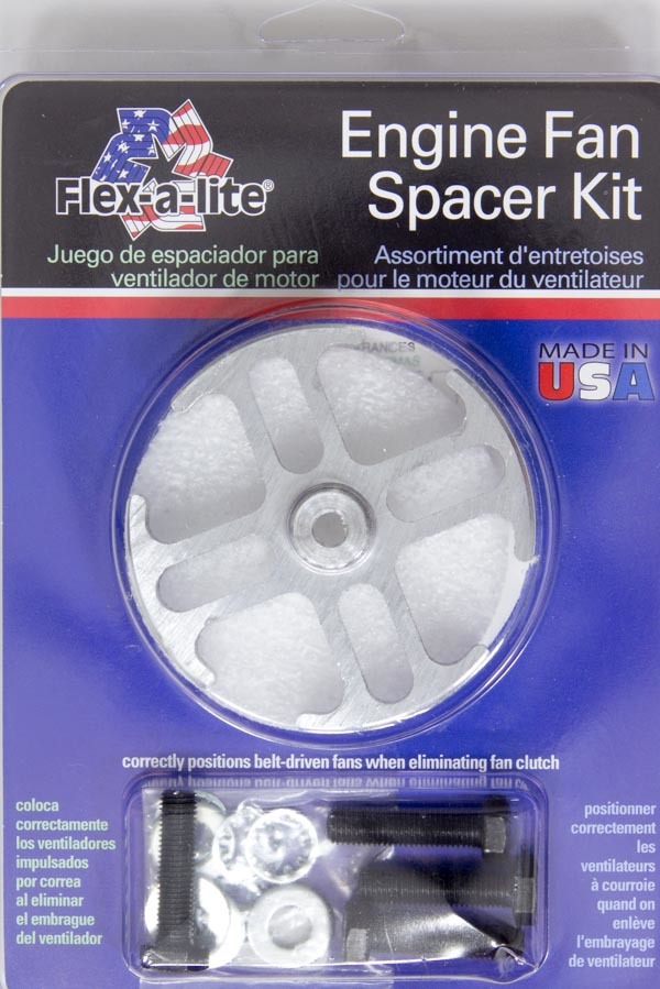Flex-A-Lite 14544 Fan Spacer, 1/2 in Thick, Hardware Included, Aluminum, Natural, Ford / GM, Each