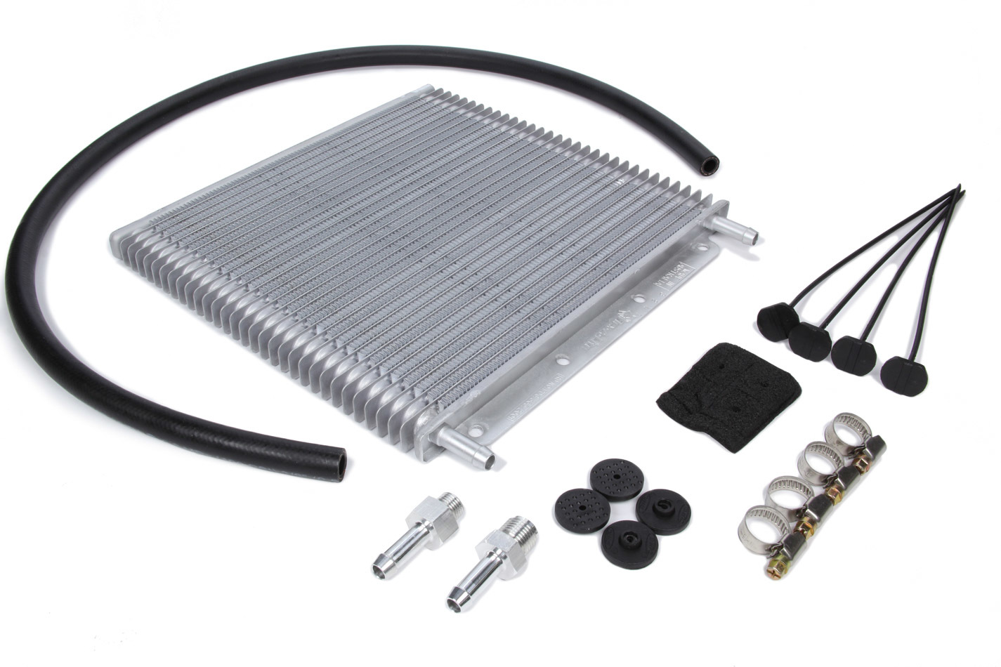Flex-A-Lite 400130 Fluid Cooler, 10 x 11 x 3/4 in, Plate and Fin Type, 30 Row, 3/8 in Hose Barb Inlet / Outlet, Fittings / Hardware / Hose, Aluminum, Natural, Universal, Kit