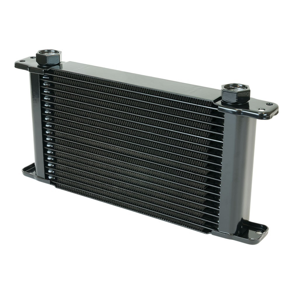 Flex-A-Lite 500017 Fluid Cooler, 11 x 5-3/4 x 1-3/4 in, Plate Type, 17 Row, 10 AN Female O-Ring Inlet / Outlet, 10 AN Male adapter, Fittings Included, Aluminum, Black Paint, Universal, Each