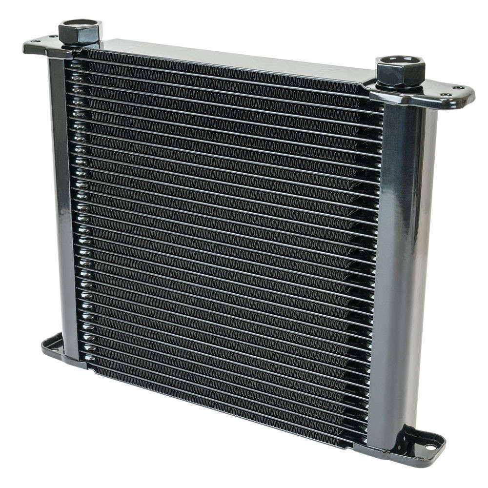 Flex-A-Lite 500028 Fluid Cooler, 11 x 10 x 1-3/4 in, Plate Type, 28 Row, 10 AN Female O-Ring Inlet / Outlet, 10 AN Male adapter, Fittings Included, Aluminum, Black Paint, Universal, Each