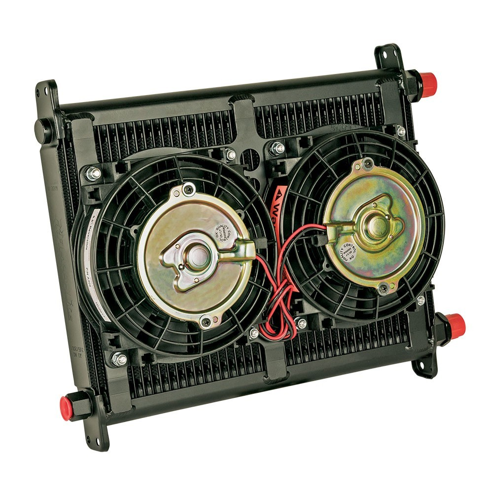 Flex-A-Lite 700040 Fluid Cooler and Fan, 11 x 14 x 4-1/4 in, Plate Type, 10 AN Female O-Ring Inlet / Outlet, 10 AN Male adapter, Fittings Included, Mounts / Temperature Switch Included, Aluminum, Black Paint, Engine Oil, Kit