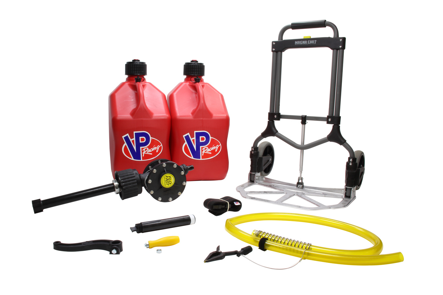 Flo-Fast 10010 Transfer Pump, Complete System, Manual, Hand Crank, Two 5 gal Jugs / Cart / Hose / Strap Included, Kit