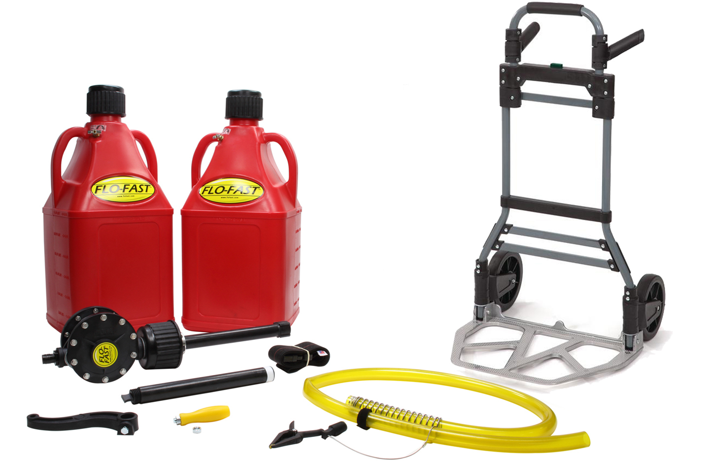 Flo-Fast 10027R Transfer Pump, Complete System, Manual, Hand Crank, Two 7.5 gal Jugs / Cart / Hose / Strap Included, Kit