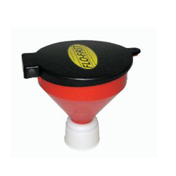Flo-Fast 40410 Funnel, Round, 10 in OD, Lid, Screw-On, Bottom, 7.5/15 Gallon Utility Jugs, Plastic, Red, Each