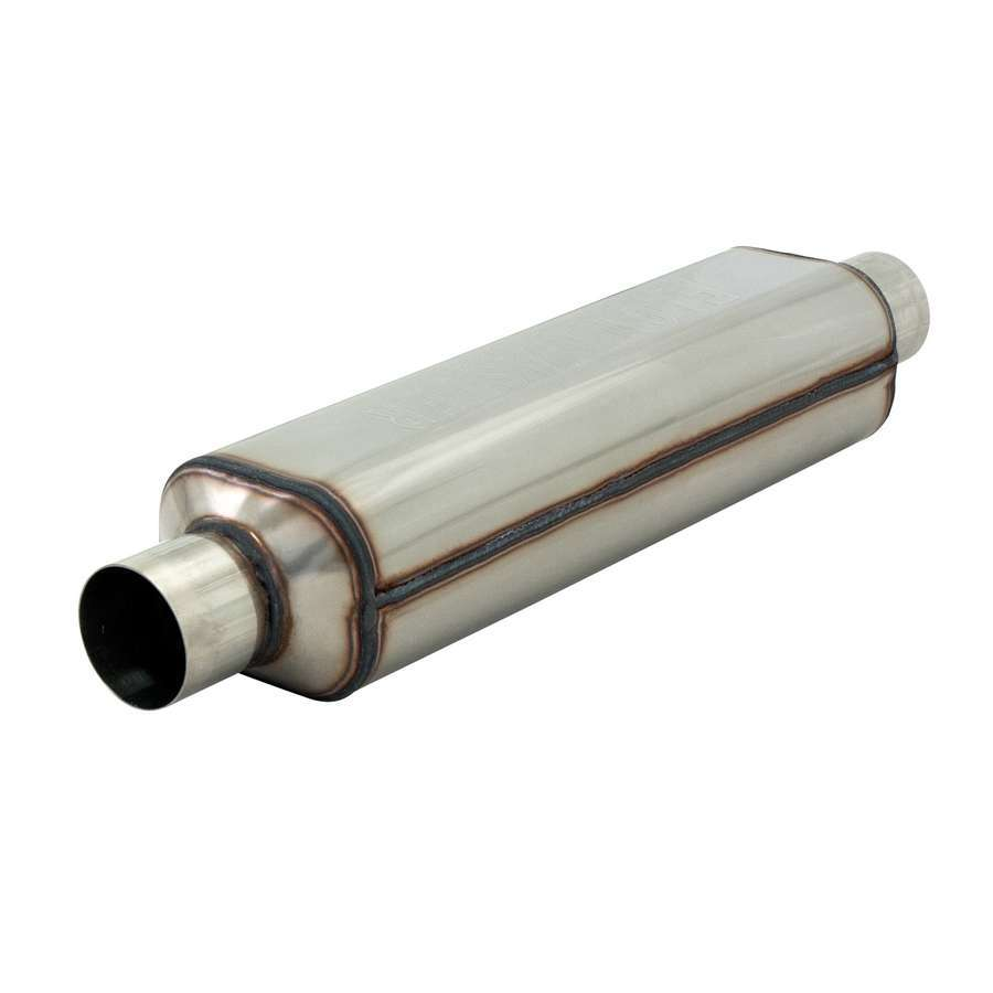 Flowmaster 12518304 Muffler, HP-2, 2-1/2 in Center Inlet, 2-1/2 in Center Outlet, 18 x 5-1/2 x 4 in Oval Body, 24 in Long, Stainless, Natural, Universal, Each