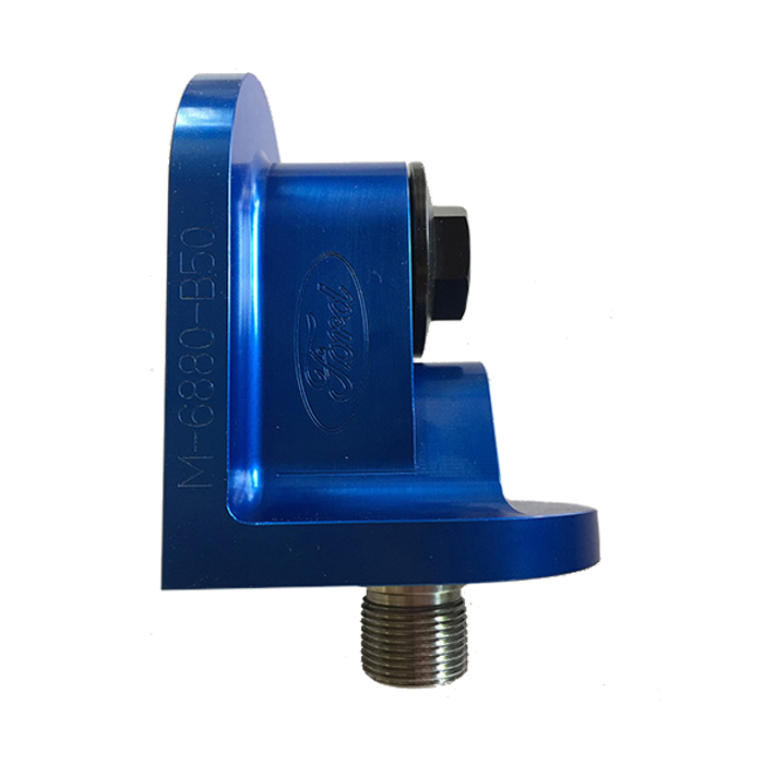 Ford M6880-B50 Oil Filter Adapter, 90 Degree, Aluminum, Blue Anodized, Ford, Each