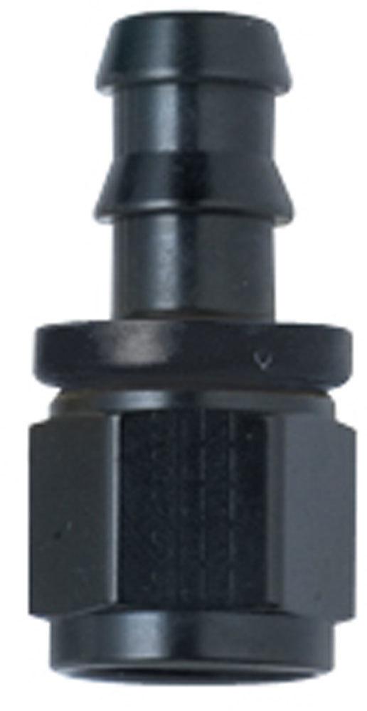 Hose Fitting #6 Straight Push Lock Black