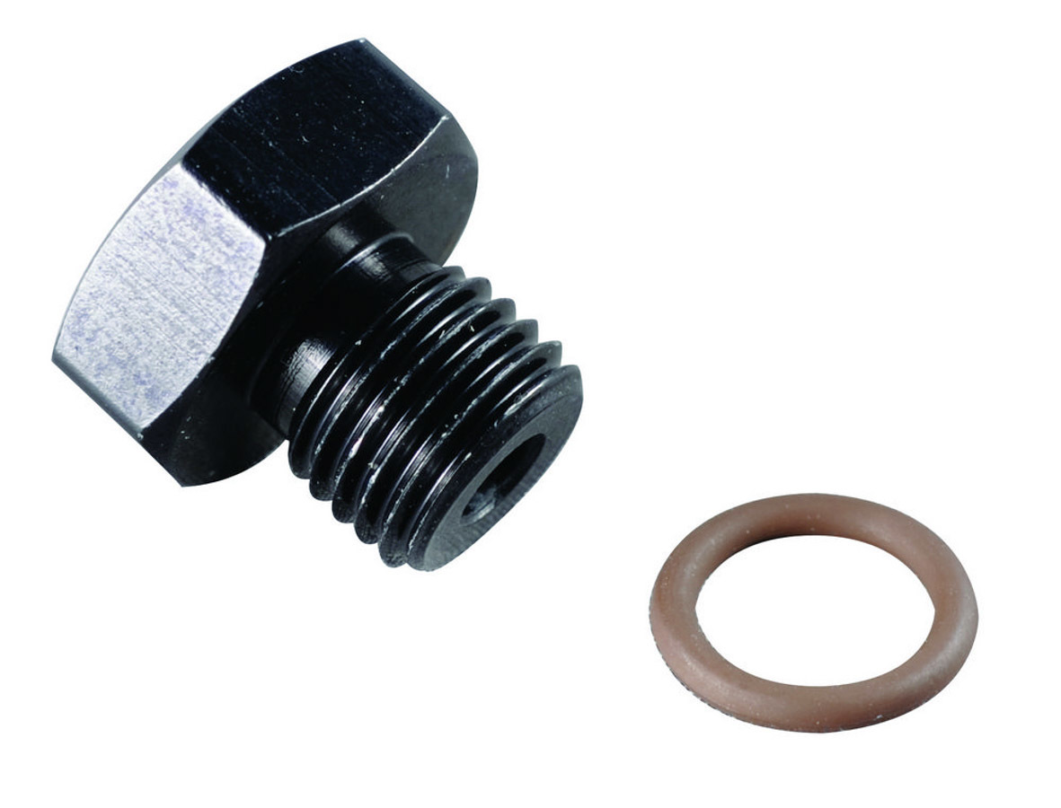 Fragola 481416-BL Fitting, Plug, 16 AN, O-Ring Included, Hex Head, Aluminum, Black Anodized, Each