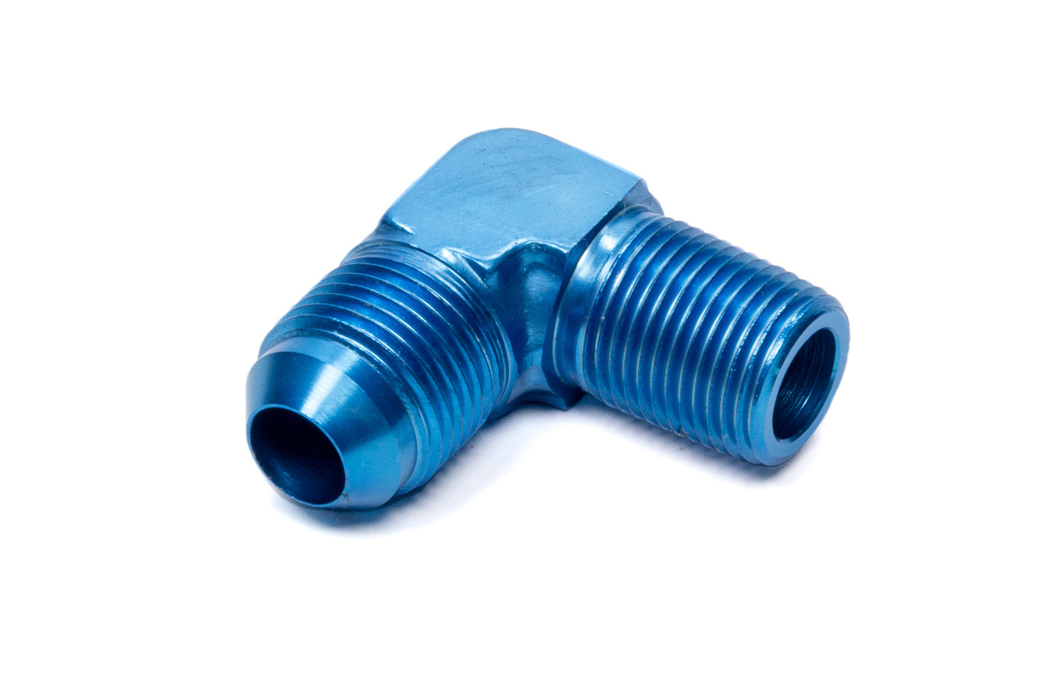 Fragola 482208 Fitting, Adapter, 90 Degree, 8 AN Male to 3/8 in NPT Male, Aluminum, Blue Anodized, Each