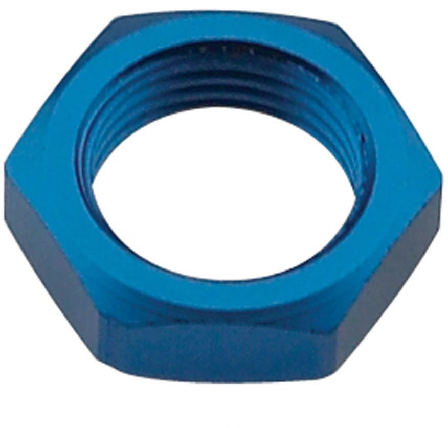 Fragola 492408 Bulkhead Fitting Nut, 8 AN, Aluminum, Blue Anodize, Each