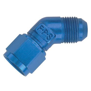 Fragola 498003 Fitting, Adapter, 45 Degree, 6 AN Female to 6 AN Male, Swivel, Aluminum, Blue Anodize, Each