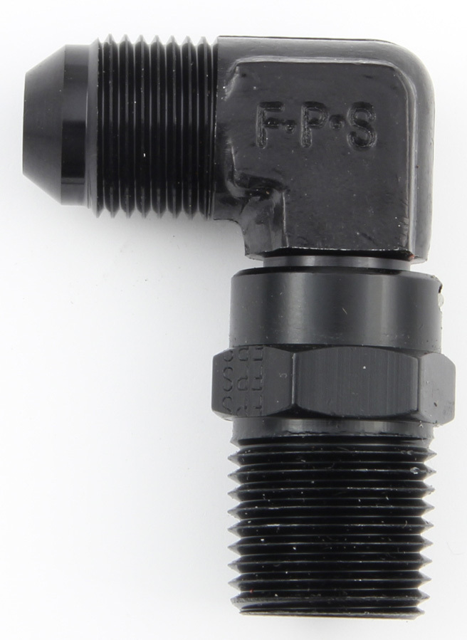Fragola 499188-BL Fitting, Adapter, 90 Degree, 8 AN Male to 1/2 in NPT Male, Swivel, Aluminum, Black Anodize, Each