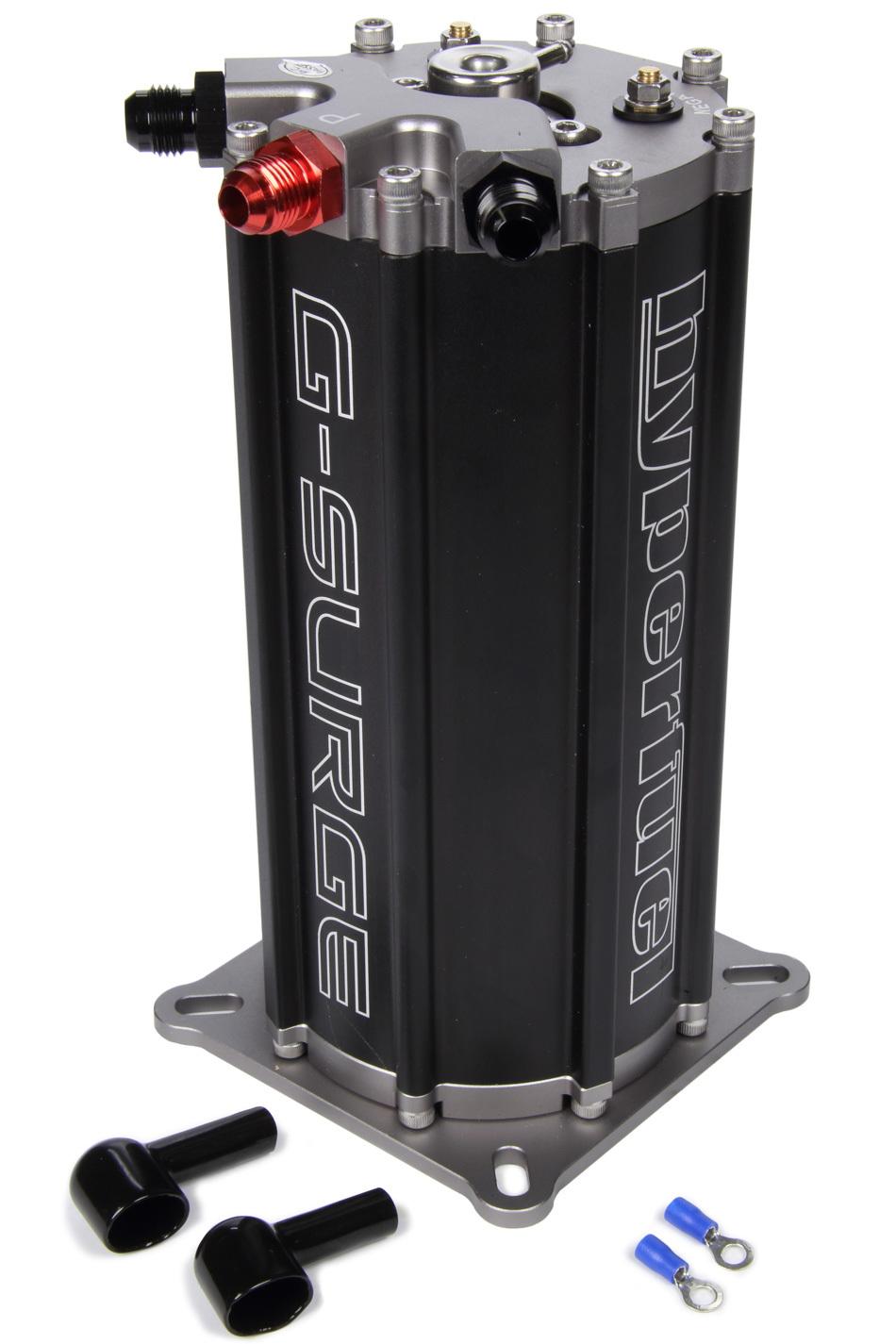 FST Carburetor 40009 Surge Tank, G-Surge Tank, 4-1/2 x 4-1/2 x 8 in Tall, Single Pump, 6 AN Fittings, Aluminum, Black Anodized, Each