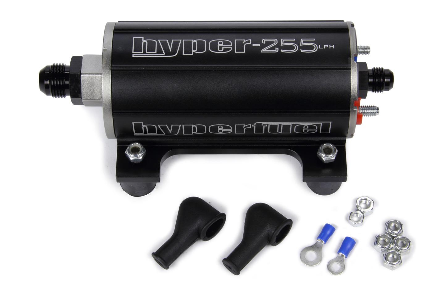 FST Performance Carburetor 40105 Fuel Pump, Electric, In-Line, 255 lph, 6 AN Inlet, 6 AN Outlet, Aluminum, Black Anodize, E85 / Gas, Each