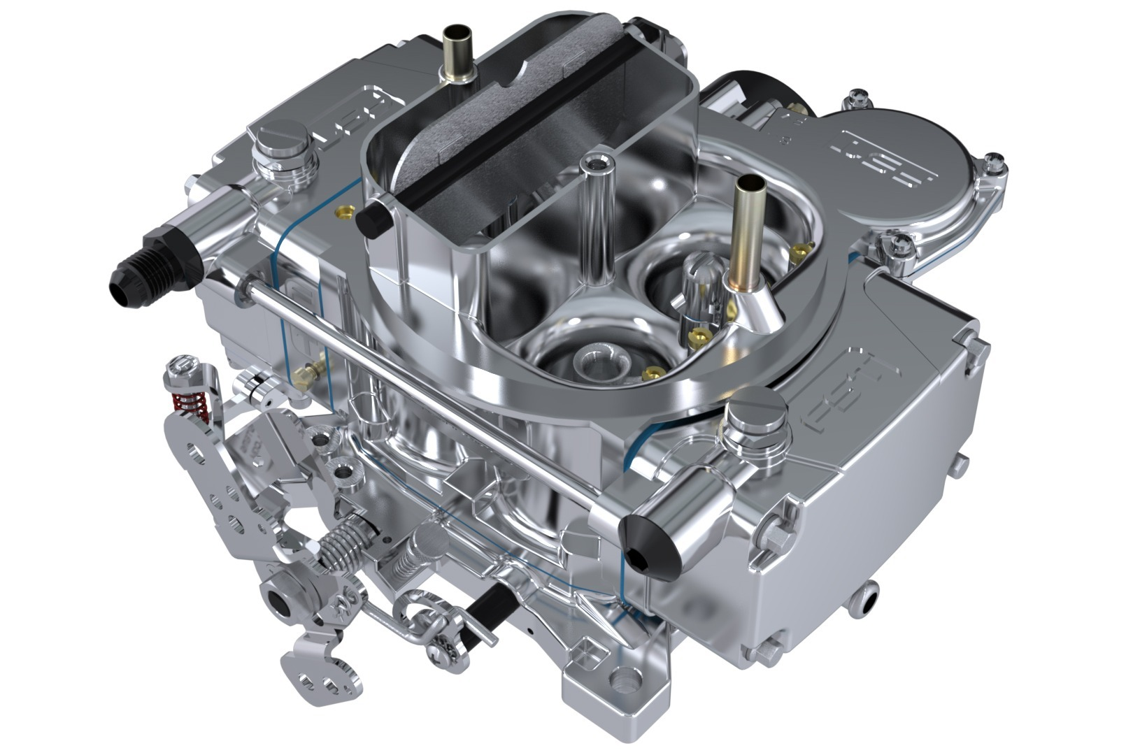 FST Performance Carburetor 40600 Carburetor, RT, 4-Barrel, 600 CFM, Square Bore, Electric Choke, Vacuum Secondary, Single Inlet, Polished, Each