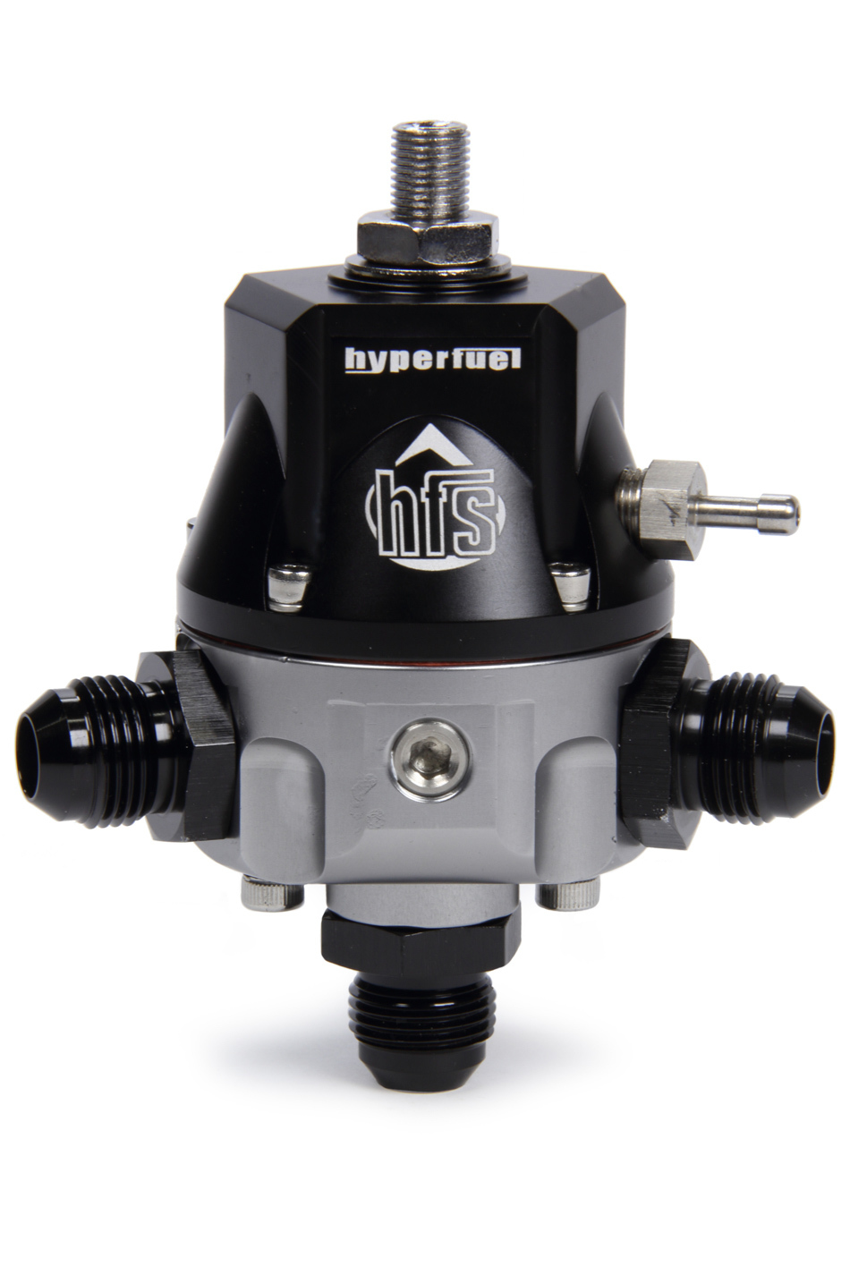 FST Carburetor 44011 Fuel Pressure Regulator, 3 to 15 psi, In-Line, 8 AN Female O-Ring Inlet, 8 AN Female O-Ring Outlet, 8 AN Female O-Ring Return, Aluminum, Black / Clear Anodized, E85 / Gas, Each