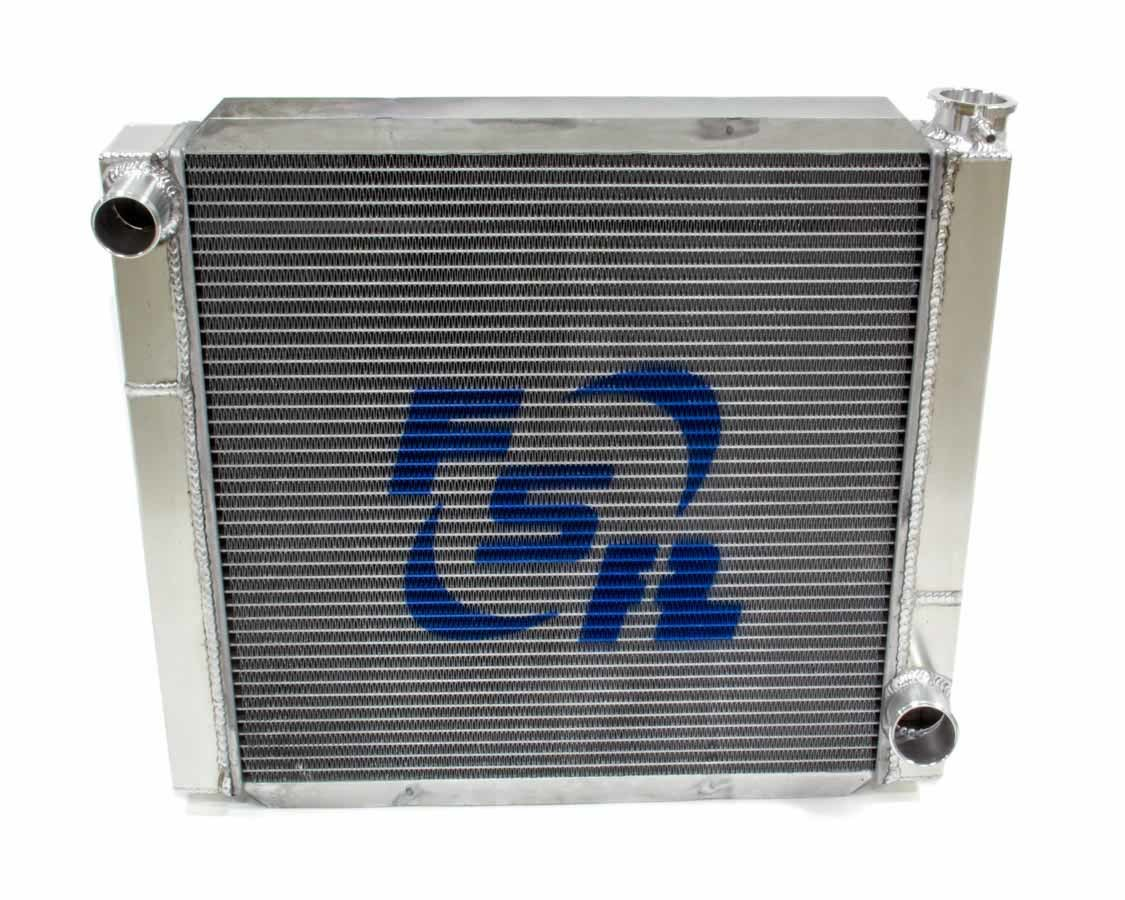 FSR Racing 2219T2 Radiator, 22 in W x 19 in H, Triple Pass, Driver Side Inlet, Passenger Side Outlet, Aluminum, Natural, GM, Each