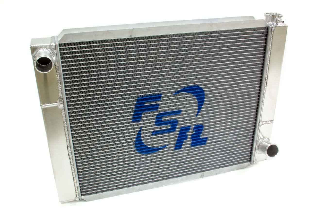 FSR Racing 2719T2 Radiator, 27-1/2 in W x 19 in H, Triple Pass, Driver Side Inlet, Passenger Side Outlet, Aluminum, Natural, GM, Each