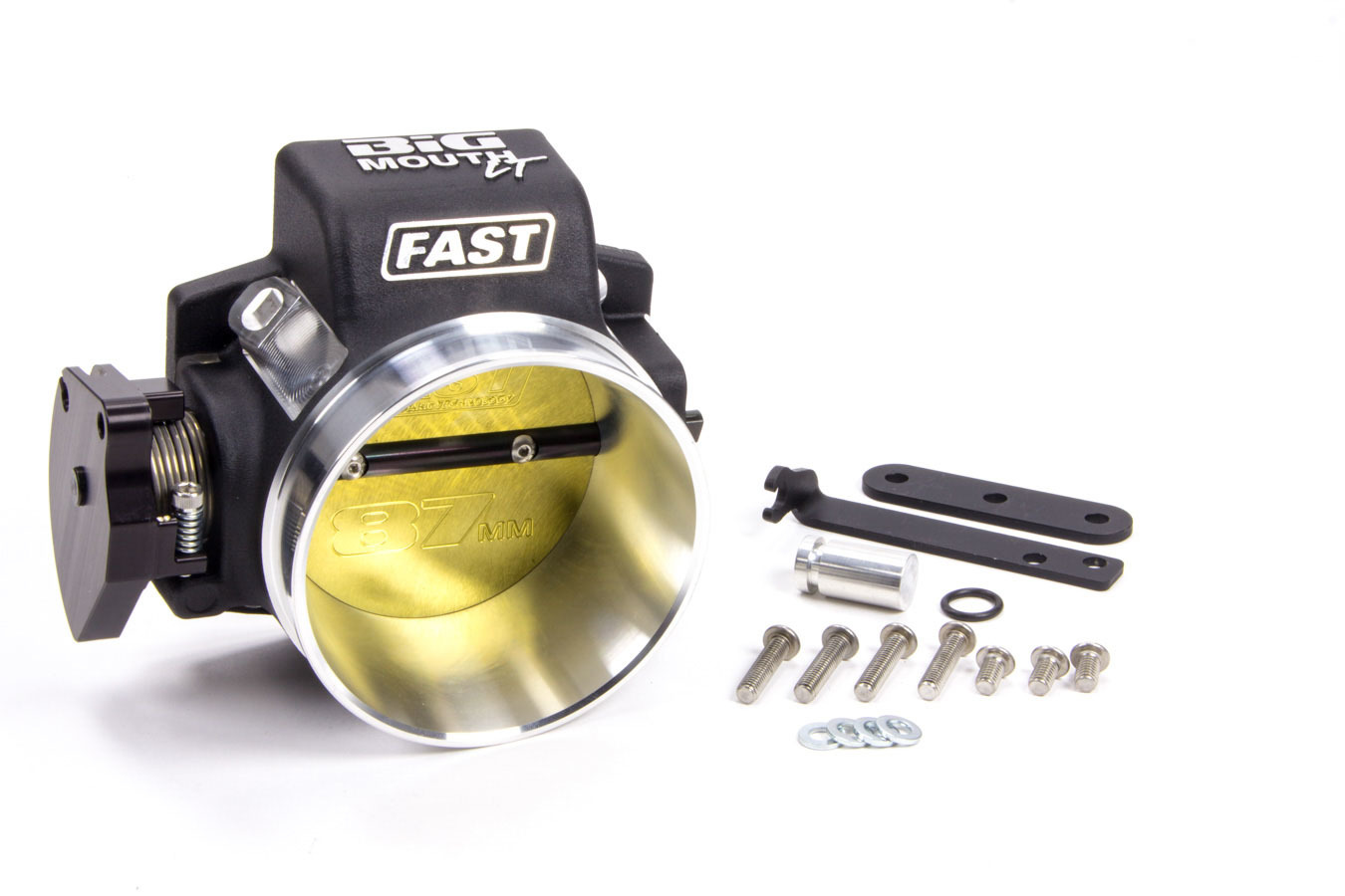 Fast Electronics 54086 Throttle Body, Big Mouth LT, Stock Flange, 87 mm Single Blade, Aluminum, Black Powder Coat, Ford Coyote, Each