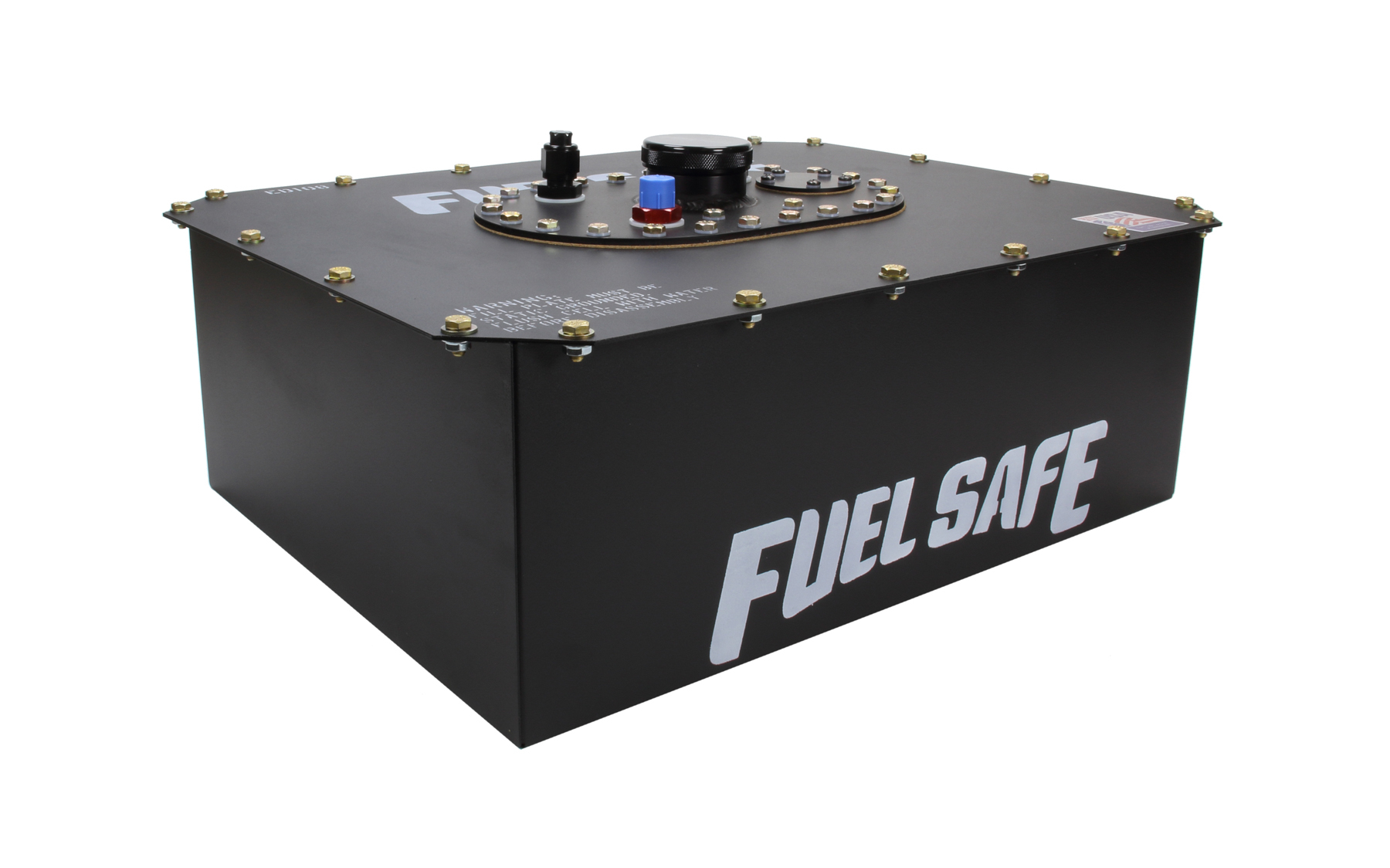 Fuel Safe ED108 Fuel Cell and Can, Enduro Cell, 8 gal, 20-3/4 x 16 x 7-3/4 in Tall, 8 AN Male Outlet / Vent, Steel / Plastic, Black, Each