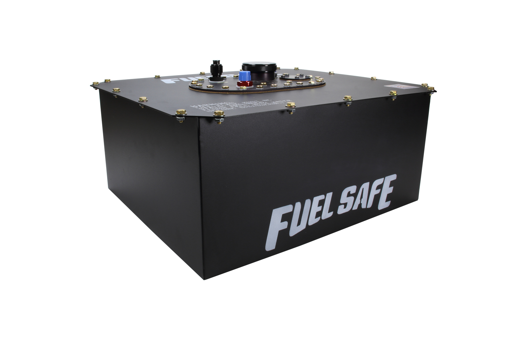 Fuel Safe ED112 Fuel Cell and Can, Enduro Cell, 12 gal, 20-3/4 x 17-7/8 x 9-1/2 in Tall, 8 AN Male Outlet / Vent, Steel / Plastic, Black, Each