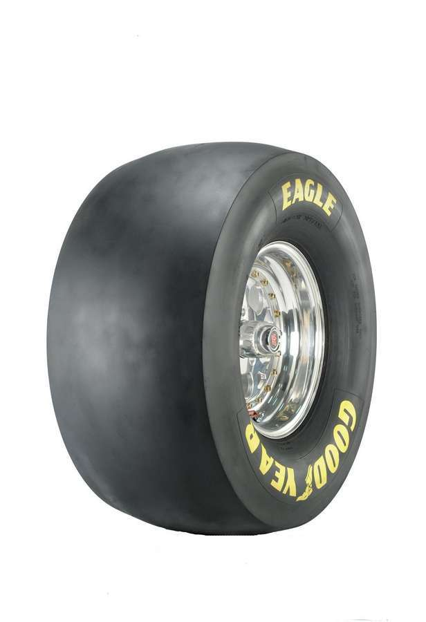 Goodyear D1408 Tire, Drag Slick, Pro Stock / Super Gas, 32.0 x 16.0-15, Bias Ply, D-5 Compound, Medium Stiff Sidewall, Yellow Letter Sidewall, Each