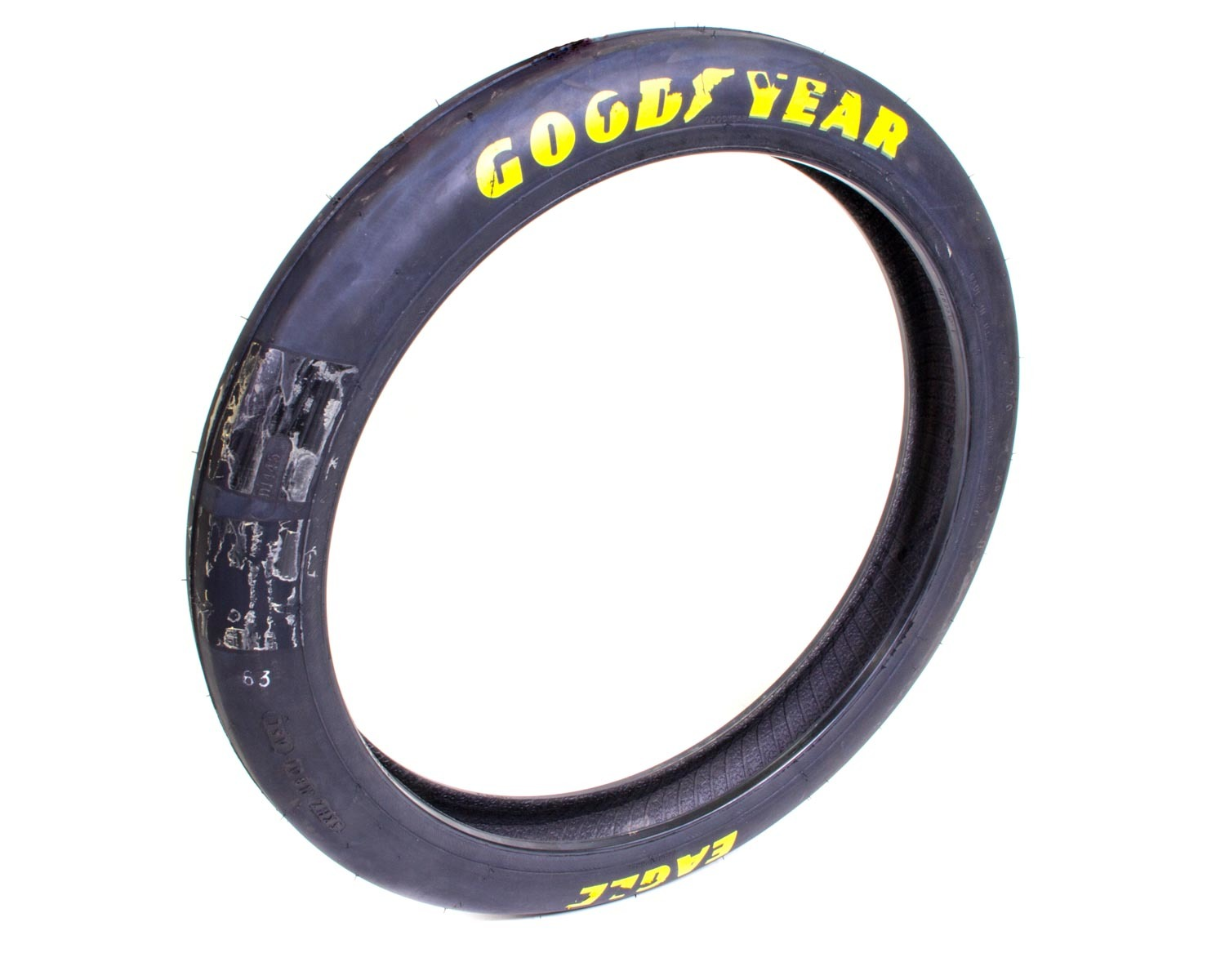 Goodyear D1445 Tire, Drag Front, Front Runner, 22.0 x 2.5-17, Bias Ply, Hard Compound, Extended Tread Life, Yellow Letter Sidewall, Each