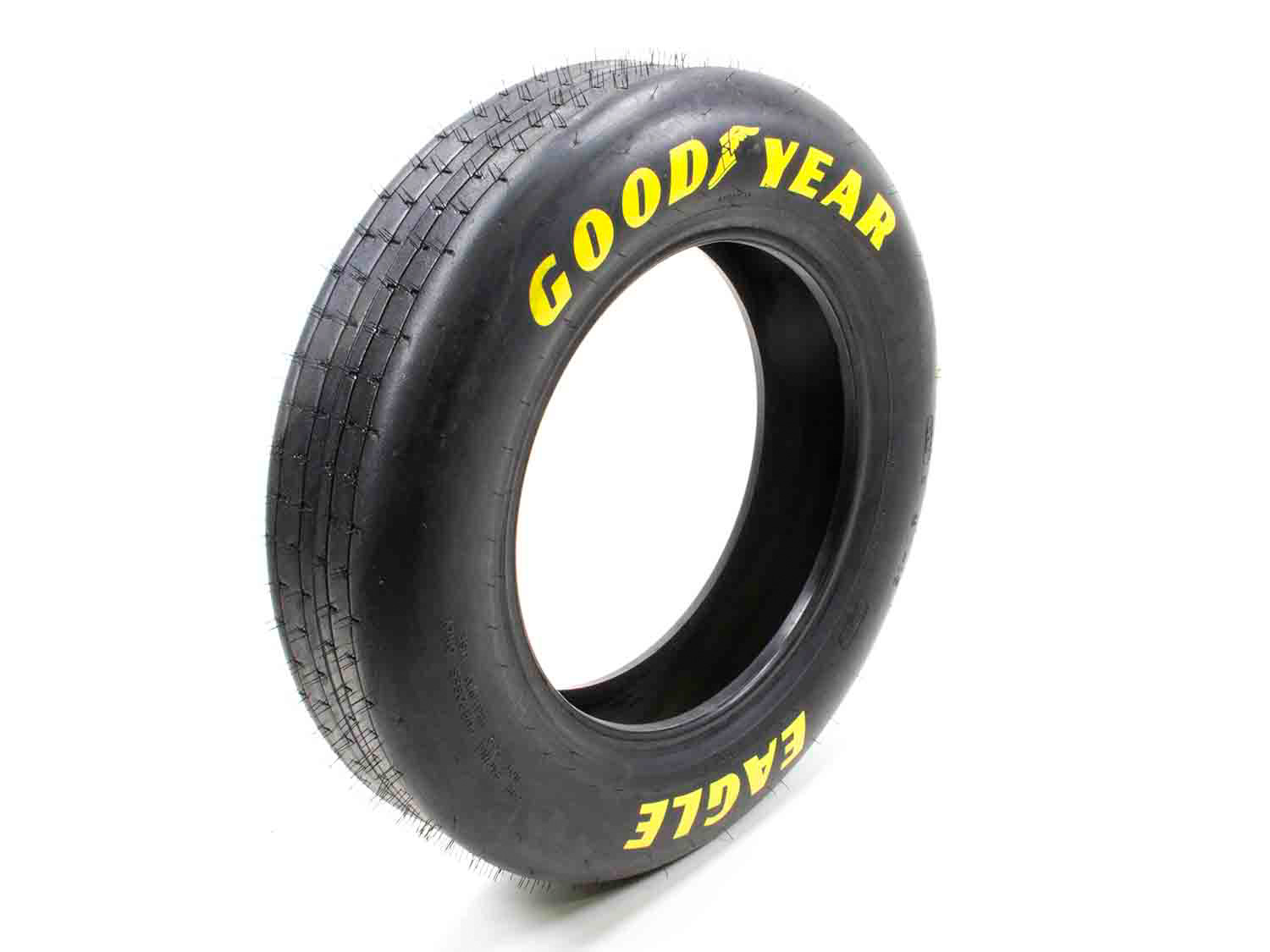 Goodyear D1962 Tire, Drag Front, Front Runner, 24.0 x 5.0-15, Bias Ply, Hard Compound, Yellow Letter Sidewall, Each