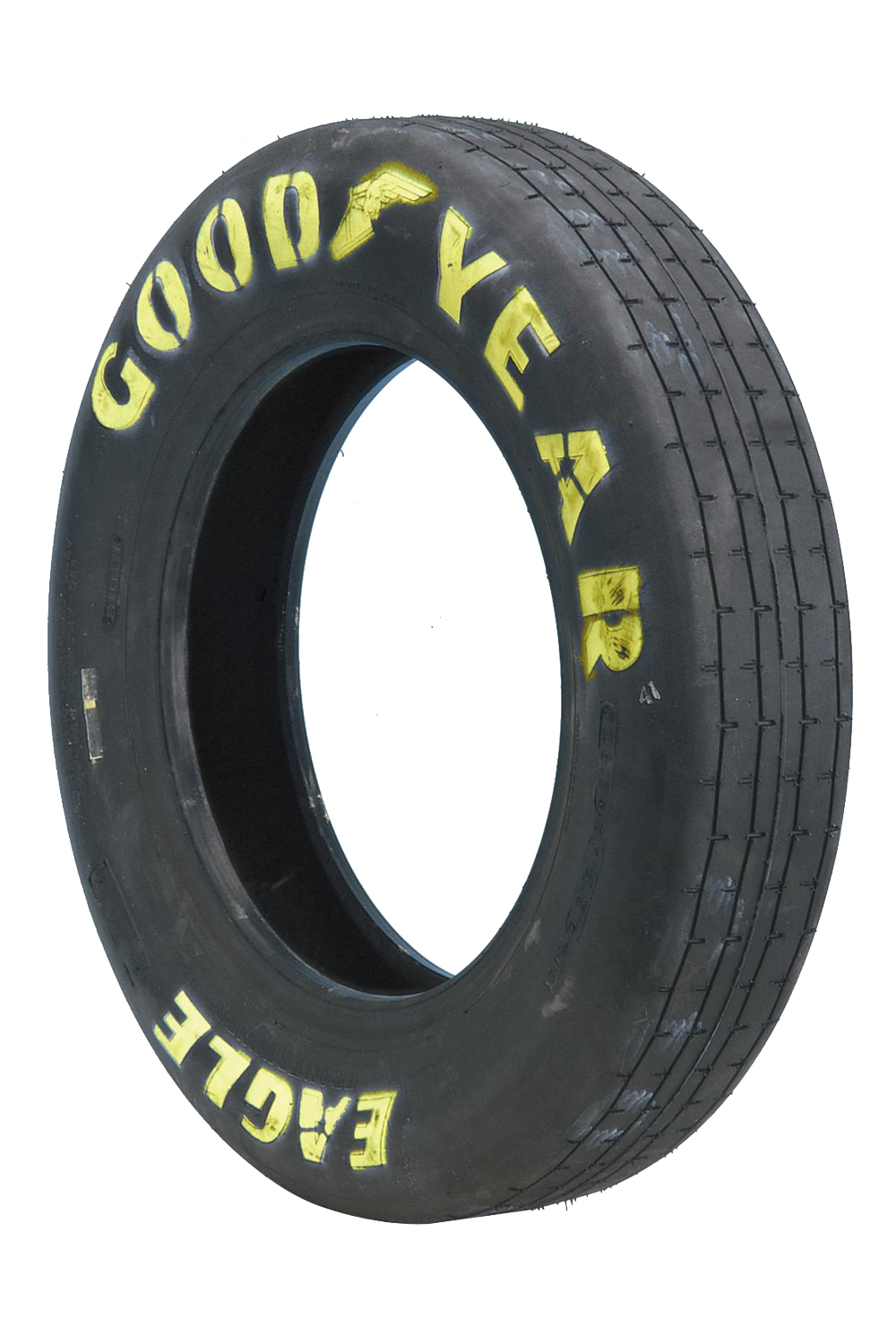 Goodyear D1966 Tire, Drag Front, Front Runner, 28.0 x 4.5-15, Bias Ply, Hard Compound, Yellow Letter Sidewall, Each