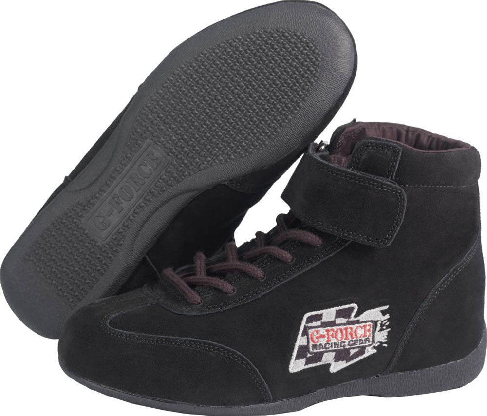 G-Force 0235140BK Shoe, GF235 RaceGrip, Driving, Mid-Top, SFI 3.3/5, Suede Outer, Fire Retardant Inner, Black, Size 14, Pair