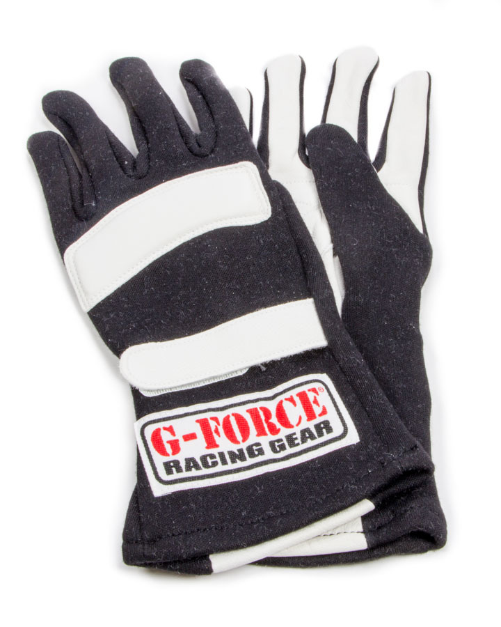 G-Force 4101XBK Gloves, G5 RaceGrip, Driving, SFI 3.3/5, Double Layer, Premium Nomex / Leather, Black, X-Large, Pair