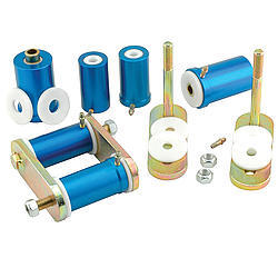 Global West 103SH Spring Shackle, Del-A-Lum, Aluminum / Plastic Bushings, Steel, Cadmium, GM F-Body 1967-81, Kit