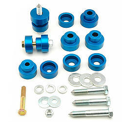 Global West 800 Body Mount Bushing, Interlock, Hardware Included, Aluminum, Black Anodize, GM F-Body / X-Body 1967-81, Kit