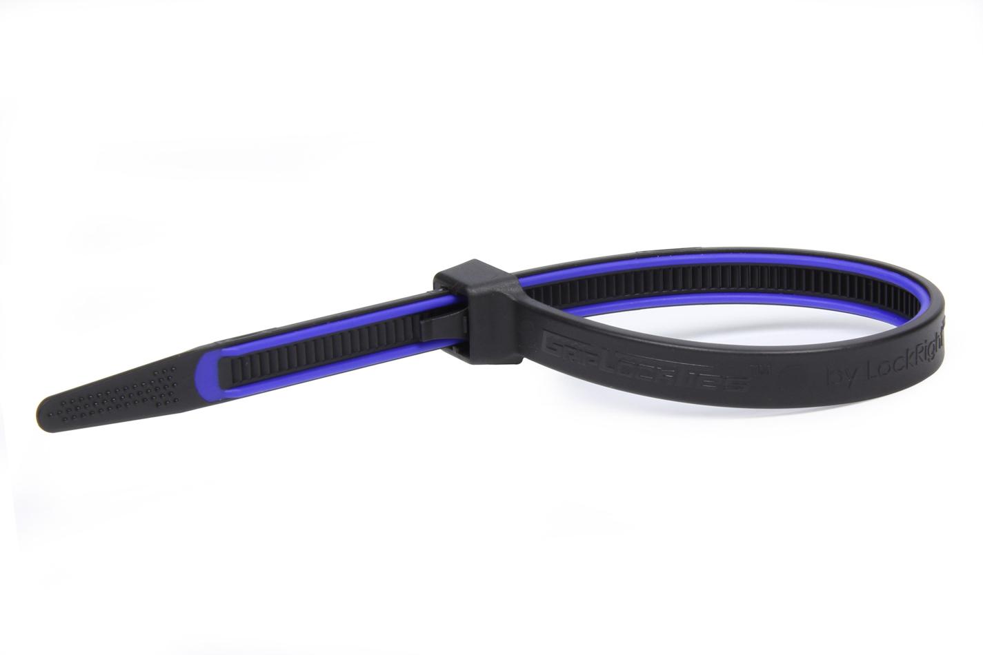 Grip Lock Ties 2908BKBUHB15 Cable Ties, Zip Ties, 8 in Long, Blue Rubber Lined, Nylon, Black, Reusable, Set of 15