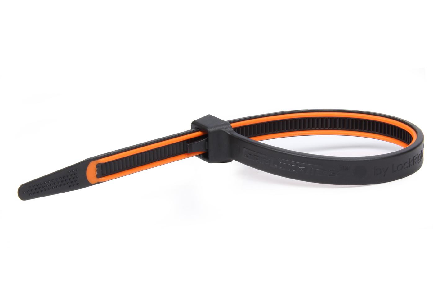 Grip Lock Ties 2908BKOGHB15 Cable Ties, Zip Ties, 8 in Long, Orange Rubber Lined, Nylon, Black, Reusable, Set of 15