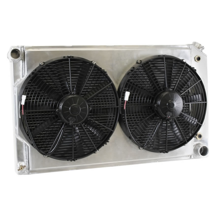 Griffin CU70010LS Radiator and Fan, Direct Fit, 31-1/4 in W x 18-5/8 in H x 6-7/16 in D, Driver Side Inlet, Passenger Side Outlet, Aluminum, Natural, GM A-Body / GM G-Body, Kit