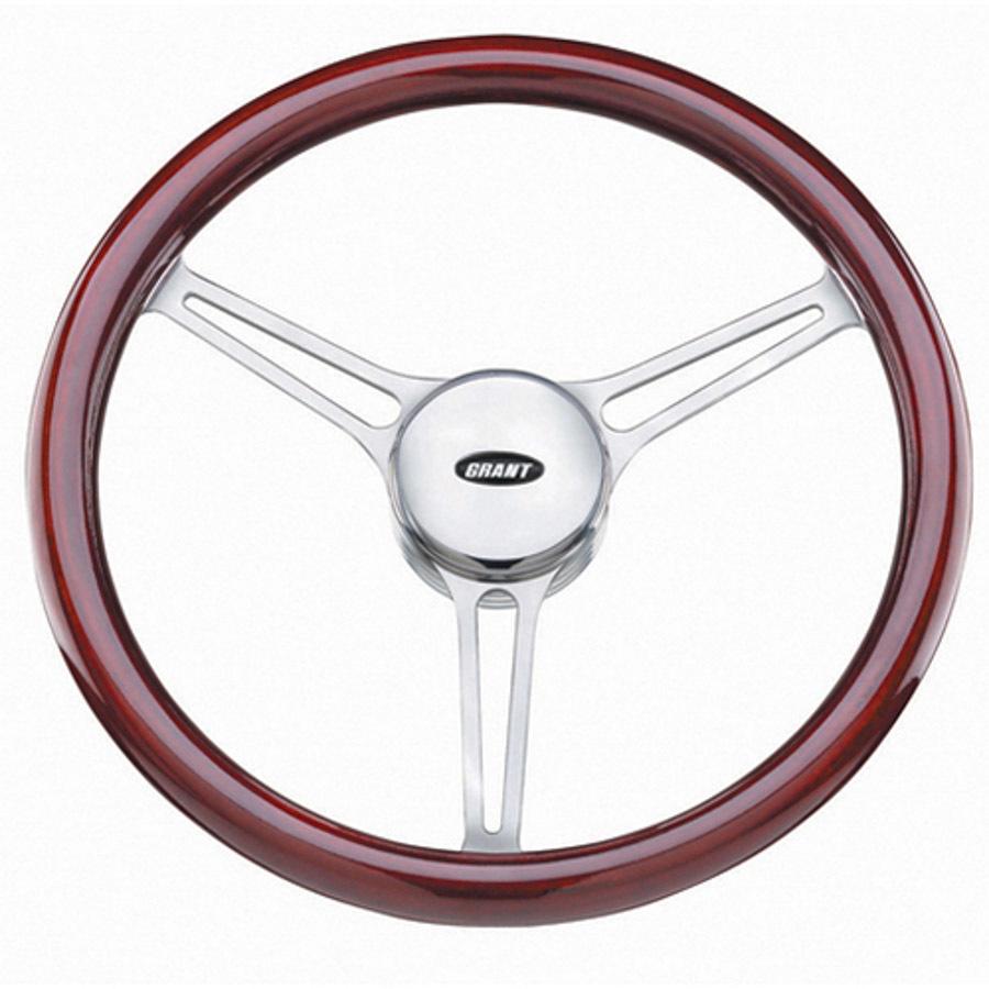 Grant 15212 Steering Wheel, Sprint 3, 14-3/4 in Diameter, 3-Spoke, Wood Grip, Aluminum, Polished, Each