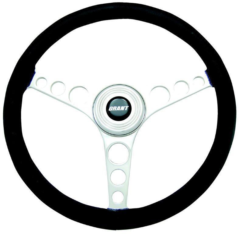 Grant 15911 Steering Wheel, Speed, 14-3/4 in Diameter, 3-Spoke, Black Leather Grip, Aluminum, Polished, Each