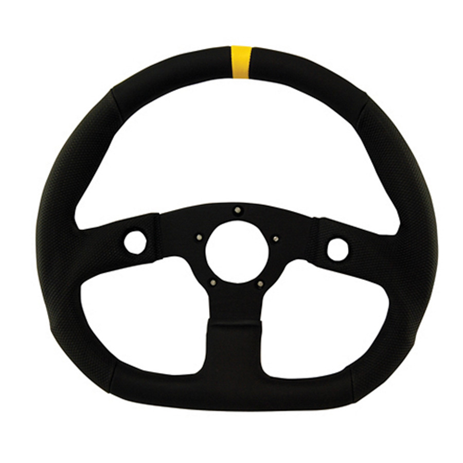 D-Shaped Diamond Grip Steering Wheel Black