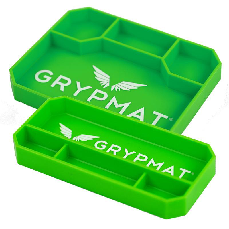 Grypmat GMP2P Tool Tray, Grypmat, Two Pack 9 x 4.25 and 9.5 x 7.5 in, Rectangular, 1 in Thick, Chemical Resistant, Silicone, Green, Kit