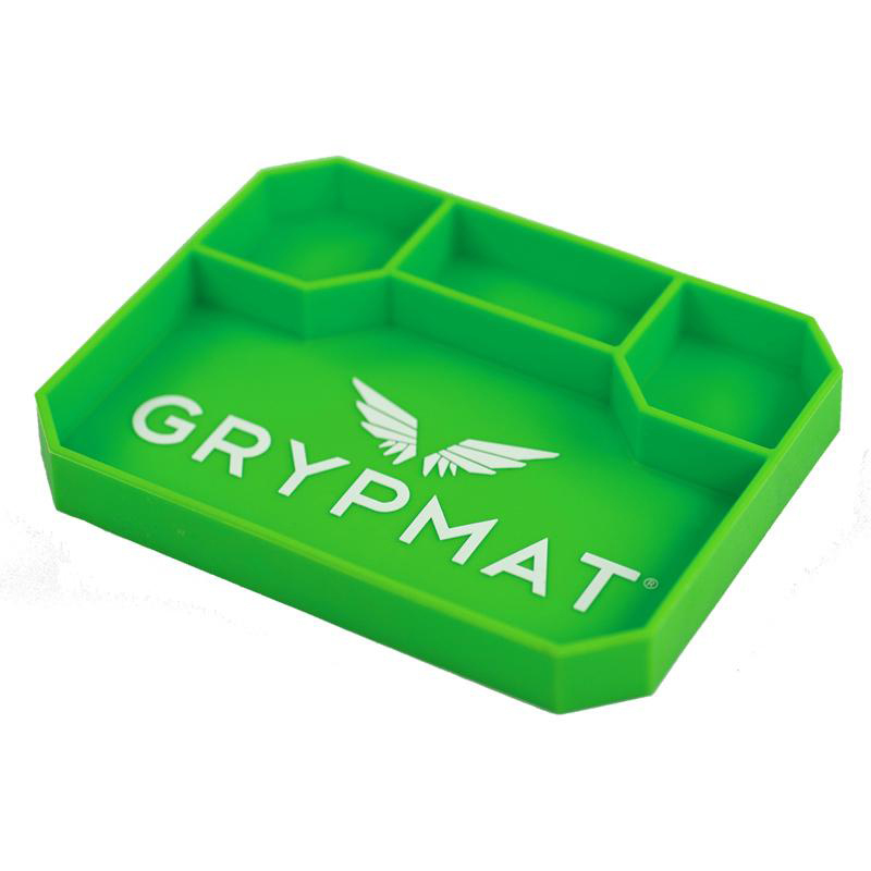 Grypmat GMPM Tool Tray, Grypmat, 9.5 x 7.5 in, Rectangular, 1 in Thick, Chemical Resistant, Silicone, Green, Each